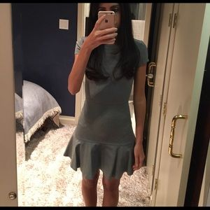 Grey fitted fit and flare mini dress